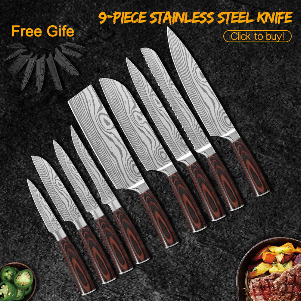 Damask 7cr17 conjunto de facas de cozinha, facas de chef de aço inoxidável de alto carbono profissional de 8 polegadas facas de chef japonês com estampa de damasco
