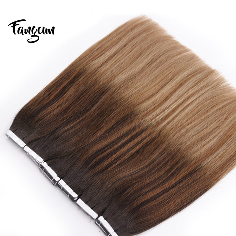 Yesowo 50g Russian Remy Tape In Human Hair Straight Double Drawn Human Hair Skin Weft Silky Straight Hair Extensions