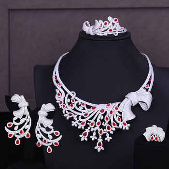 GODKI Nigerian Dubai Bridal Wedding Luxury 4 PCS Jewelry Set Necklace Dangle Earrings Bracelet Resizable Ring Bridal Wedding Set