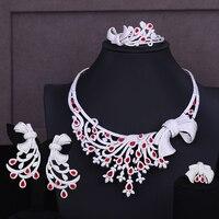 GODKI Nigerian Dubai Bridal Wedding Luxury 4 PCS Jewelry Set Necklace Dangle Earrings Bracelet Resizable Ring Bridal Wedding Set