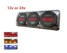 1x 12V Chrome LED Trailer Truck Tail Light 3 Combination Light Stop Reverse Turn Signal Rear Light 24v Lamp IP68 red amber white