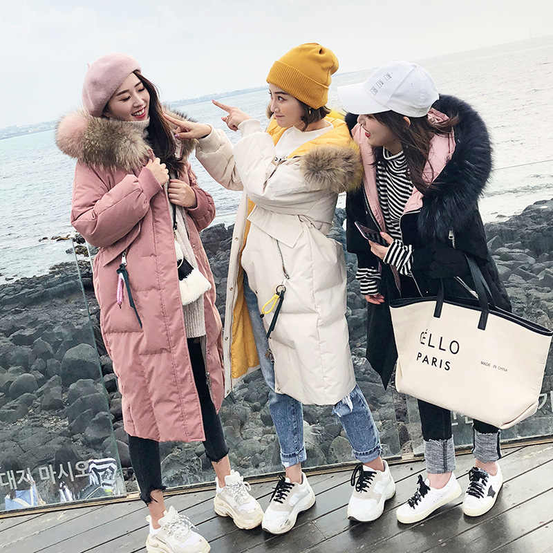 2019 Winter New Style Korean-style down Jacket Women's Mid-length Fashion Waist Hugging Thickening Large Fur Collar over-the-Kne