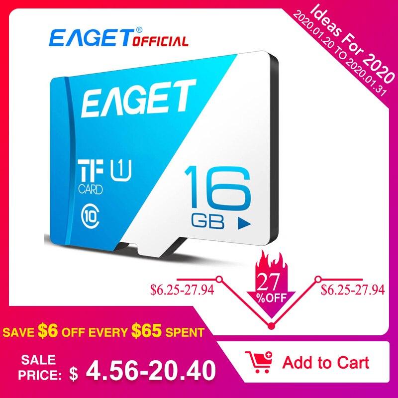EAGET T1 Micro carte SD Class10 128GB carte mémoire 32GB 16GB Micro SDXC TF carte 64GB haute vitesse UHS-I Flash pour téléphones tablette