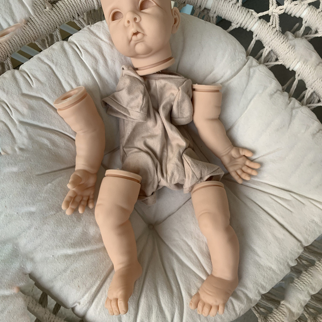 22inch Cute Blank Reborn Baby Doll Kit DIY Toy With Body Eyes Soft Vinyl Realistic Accessories Gift Unfinished Unpainted 3