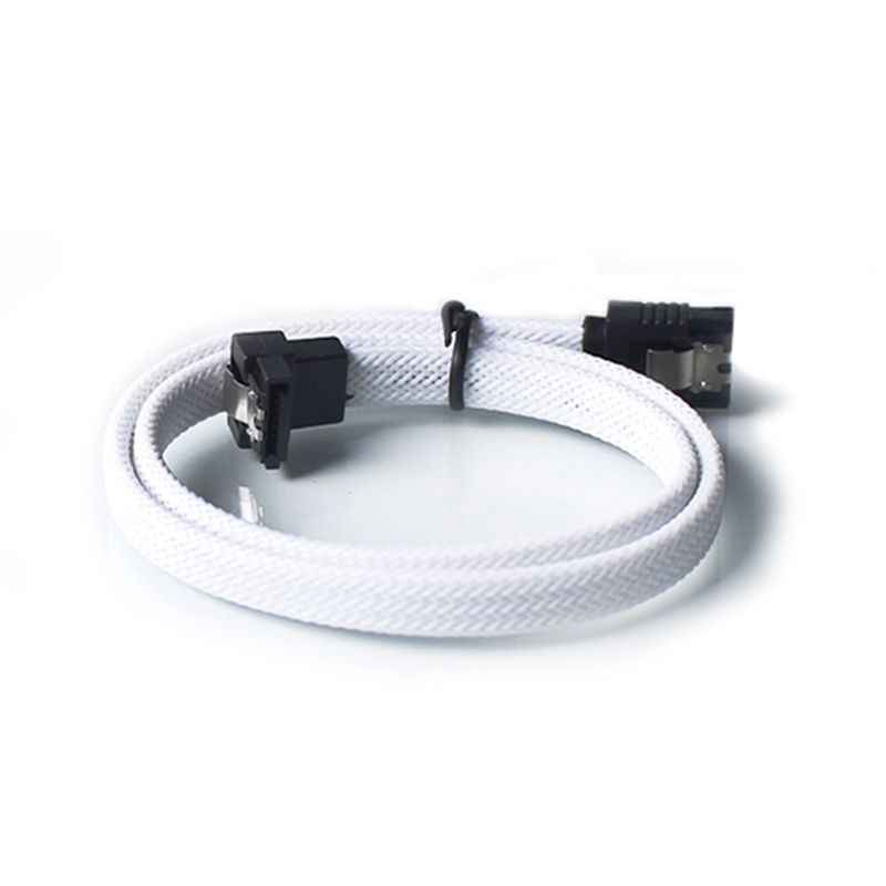 50CM SATA 3,0 III SATA3 7pin Cable de datos ángulo recto 6 Gb/s SSD Cables HDD Disco Duro Cable de datos con manga de Nylon (blanco)