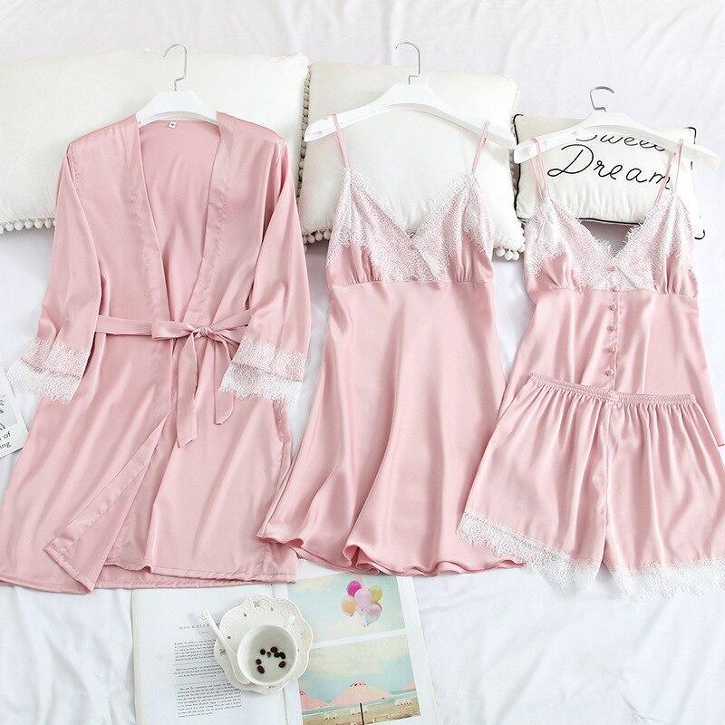 Women 4 PCS Robe Set Nightgown Sleepwear Lady Summer New Silky Nightwear Kimono Bathrobe Gown Lace Intimate Lingerie Homewear