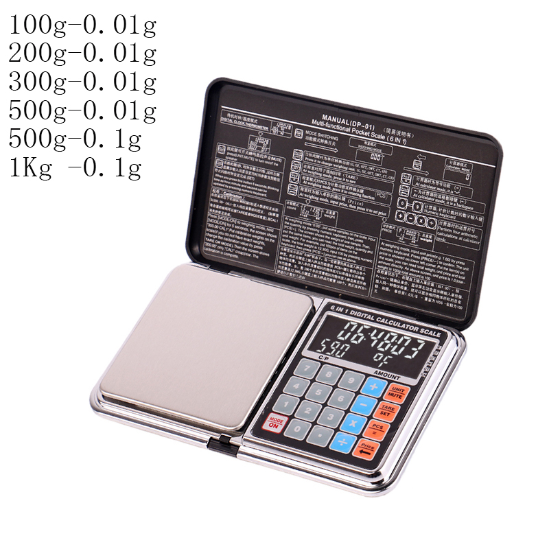 Multifunction Calculation Scale Mini LCD Digital Pocket Scale 100/200/300/500/1000g 0.01/0.1g Jewelry Scales Weight Balance