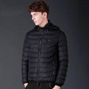 Image 5 - 冬暖かいハイキングジャケット男性女性スマートサーモスタットフード付き usb 加熱された服防水ウインドブレーカー男性黒フリースジャケット
