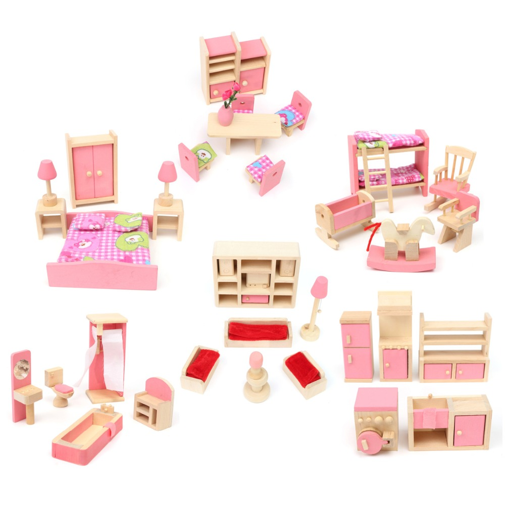 Miniature Wooden Dollhouse Furniture Toys Set For Children Pretend Play 6 Rooms Set/Dolls Toys Miniature Dollhouse Accessories