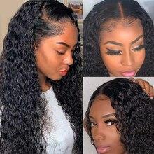 Dentelle avant cheveux humains perruques pour les femmes noires crépus bouclés 13x1 dentelle frontale perruque brésilienne cheveux humains longue 30 pouces perruque bouclée Jarin