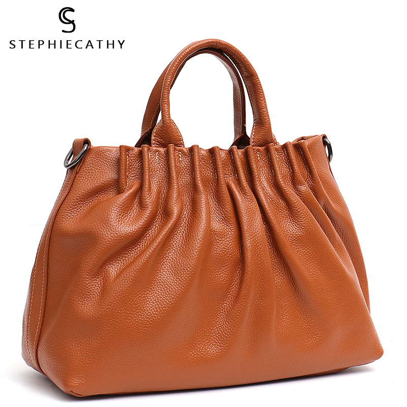 SC Genuine Leather Top-handle Bucket Bags For Women Medium Designer Luxury Female Tote Handbag Leather Shoulder&Cross Body Bag