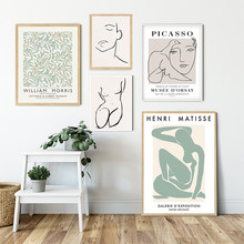 Nordic Picasso Matisse Canvas Painting William Morris Posters And Prints Abstract Line Plant Wall Art Pictures Living Room Decor
