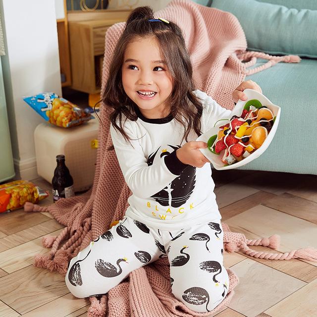 2019 xin chun qiu w nowym stylu mężczyźni i kobiety dzieci bawełna drukuj Cartoon piżamy komplet bielizny dziecięcej bielizna termiczna