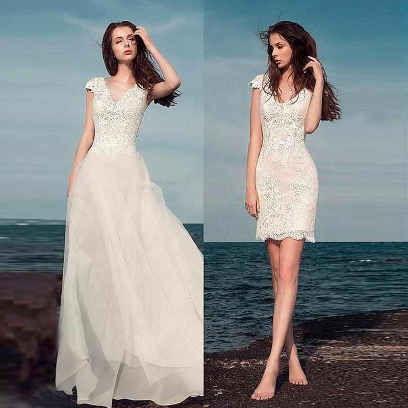 Alilove Detachable/Beach/V Neck/Sleeveless/Simple/New/Style/Big Size Wedding Dress 2 in 1/Lace/White/Direct/Women/Luxury 2019