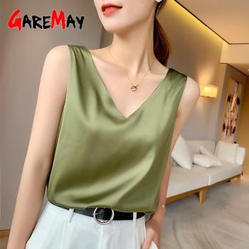 2021 Beautiful Women's Blouses Summer 2021 Chiffon V Neck Plus Size Women Blouses Satin Office Black Women Elegant Shirts Silk