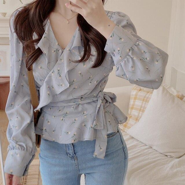 Blusas 2021 Spring Elegant Tops Blouse Women Long Sleeve Floral Chiffon Shirt Women Puff Sleeve Chic Office Lady Clothing 10249 3