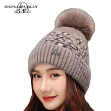 2019 Winter Leopard Crochet Beanie Hat Adult Female Women Knitted Hair Ball Hat Beanies With Fur Fur Real Warm Outdoor Girl Cap doublue real raccoon fur pompons baby hat kid s winter thick warm beanies knitted crochet lovely bonnet for boys girl cap