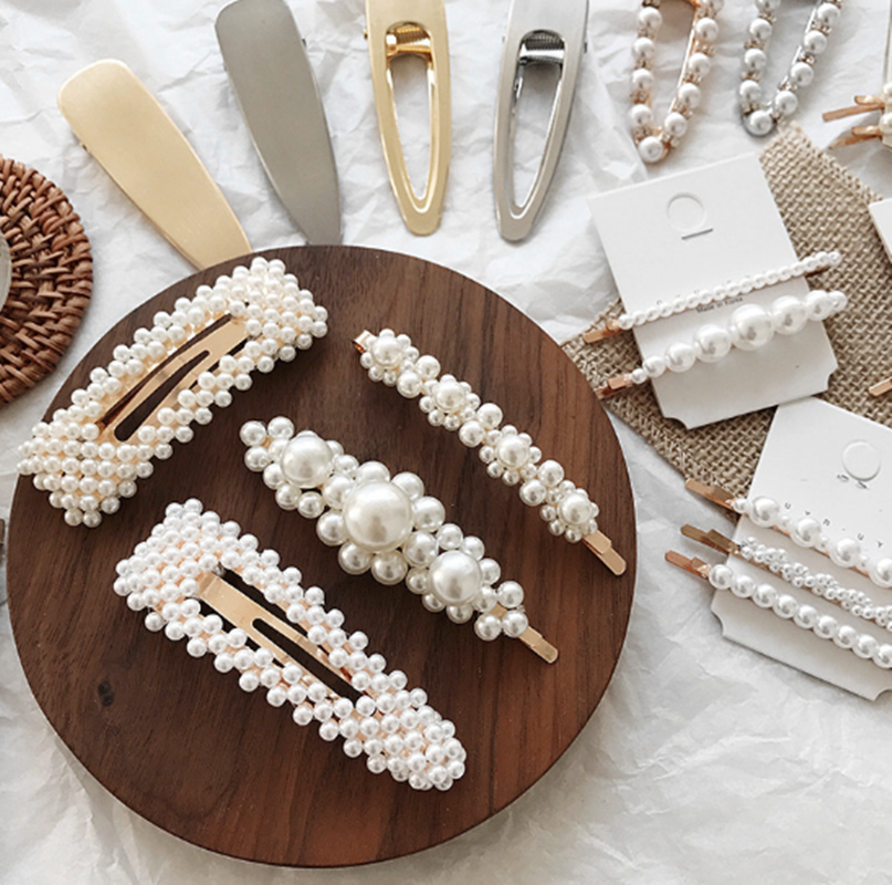 Korean 8 Styles Acrylic Imitation Pearl Women Barrettes Elegant For Female Girl Hair Clip Hairgrips Hair Accessories