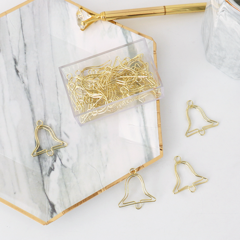 TUTU 20pcs/box Lovely Gold Metal Christmas Paper Clips Bell Shape Interesting Bookmark Clip Memo Binder Clip H0322