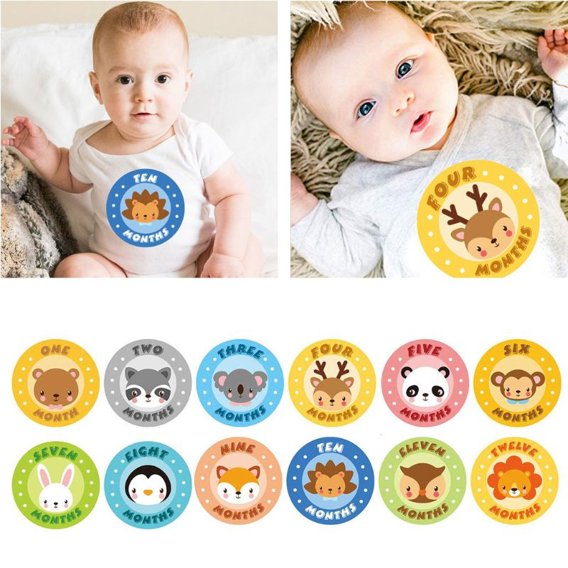 12 Pcs/Set Newborn Baby Monthly Sticker Photos Cute Cartoon Photography Photo Cards Animal Ice Cream Stickers Baby Growth Album