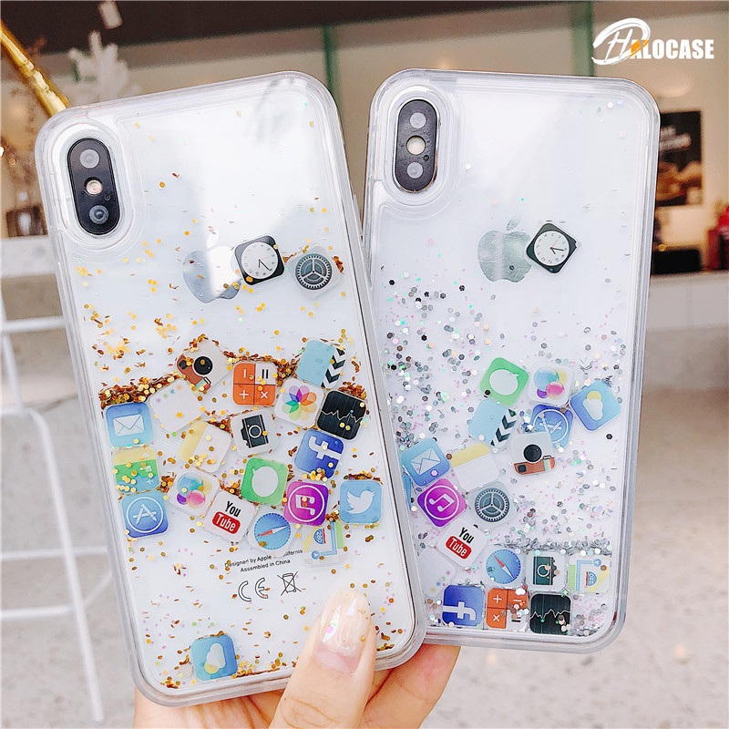 Cute APP icon Liquid Quicksand Phone Case For iPhone 11 Pro MAX 6 6S 7 8 Plus X XS MAX XR For Samsung S9 10 Plus Note 8 9 10 Pro image
