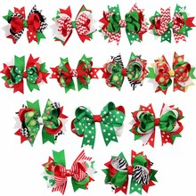 13Pcs/lots 5Christmas Hair Bows For Kids Printed Snow Layered Green Tree Dots Clips Hairpins Festival Accessories