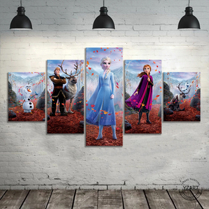 Image 2 - 5pcs HD Cartoon Wall Picture Frozen 2 Cartoon Movie Poster Canvas Paintings Wall Art Home Decor