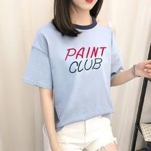 Women's T-Shirt Short Sleeve O-NeckFashion Sling Off Shoulder Cotton Embroidered Female T-Shirt Letter Print letter print drop shoulder t shirt