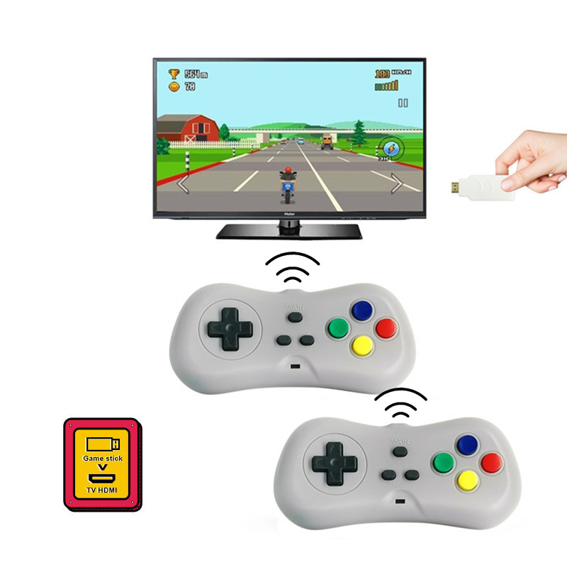 Mini TV Video Game Console Handheld Game Dongle Build in 638 Classic Games Support HDMI Output With Two Wireless Gamepads