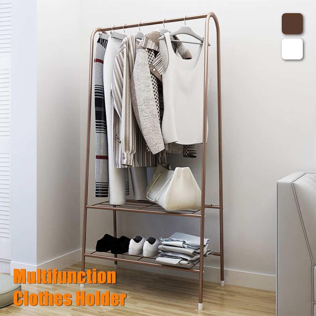 Standing Iron Coat Rack Clothes Holder Storage Rack Garment Display Hanger Living Room Home Furniture 2 Colors Organizer Shelf