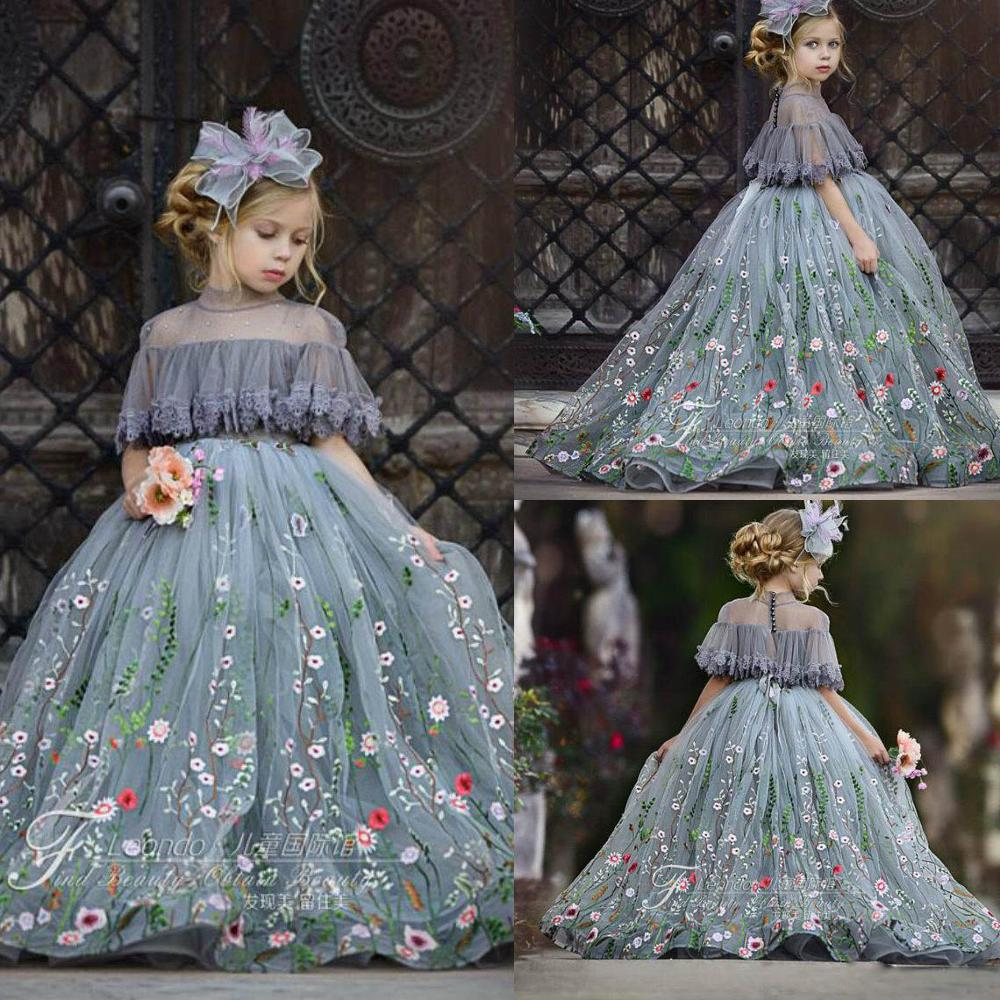 2019 Cute Tulle Ball Gown Flower Girl Dresses Lace Applique High Neck Rhinestones Kids Pageant Dress Girl's Communion Dresses