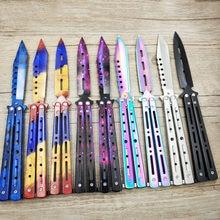 Cuchillo de titanio arcoíris de acero inoxidable, cuchillo de entrenamiento de mariposa, cuchillo de juego, herramienta opaca Sin borde