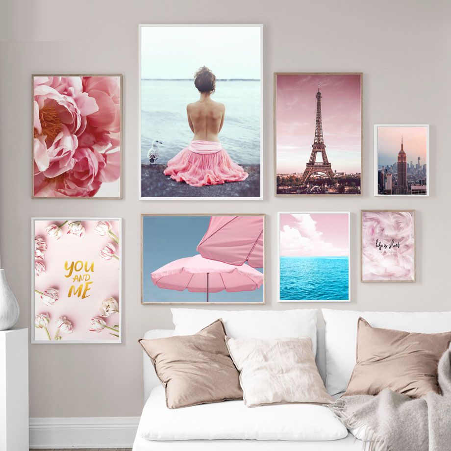 Wall Art Canvas Painting Paris New York Empire State Pink Feather Girl Nordic Posters And Prints Wall Pictures For Living Room