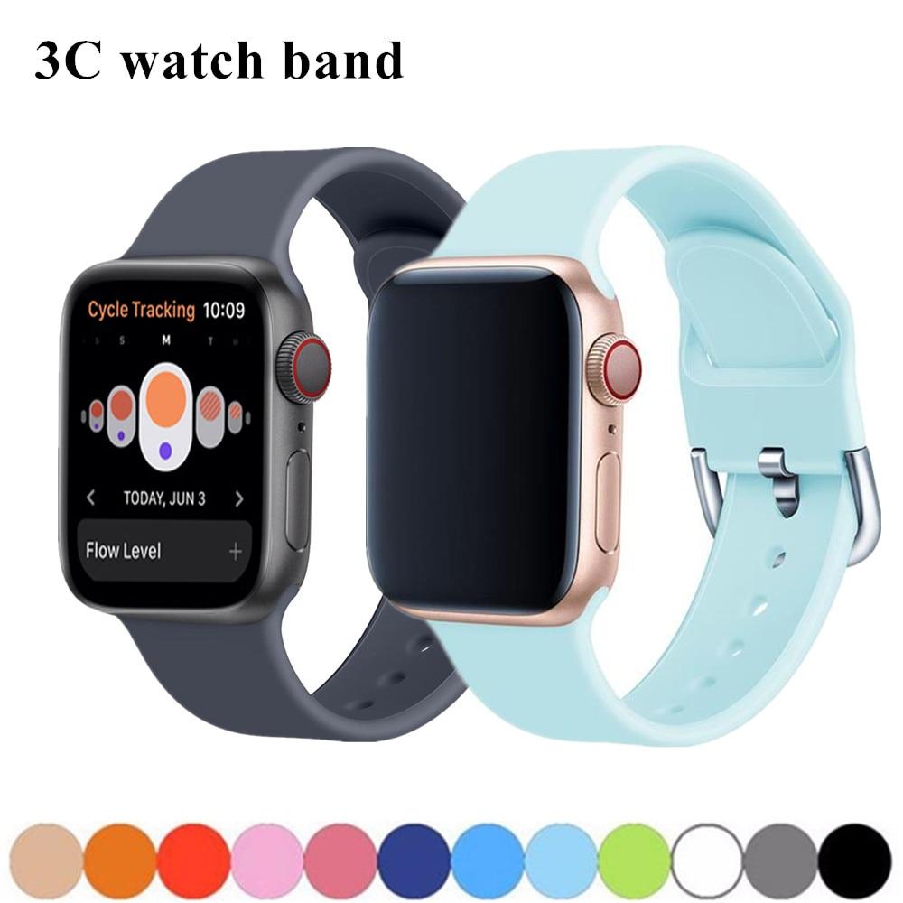 Silcione Strap For Apple Watch Band 44 Mm 42mm Apple Watch 5 4 3 Band 38mm 40mm Iwatch Band 5/4/3/2/1 Correa Bracelet Watchband