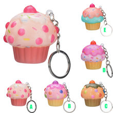 Kawaii Adorable Ice Cream Cake Scented Cream Keychain Slow Rising Stress Reliever Toy Simulation Food Cake Children kids Gift #j(China)