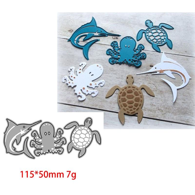 Dolphin Octopus Turtle Metal Cutting Dies Scrapbooking Craft Mold Cut Die Stencil Handmade Paper Card Make Template New Design