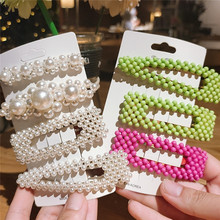 Fashion Pearl Hair Clip for Women Elegant Korean Design Snap Barrette Stick Hairpin Styling Accessories