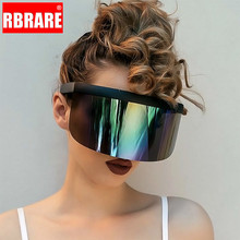 RBRARE Visor Sunglasses Mirror Fun Big Box Sunscreen Anti-peeping Hat Glasses Personalized Mask Fashion Trend Shades