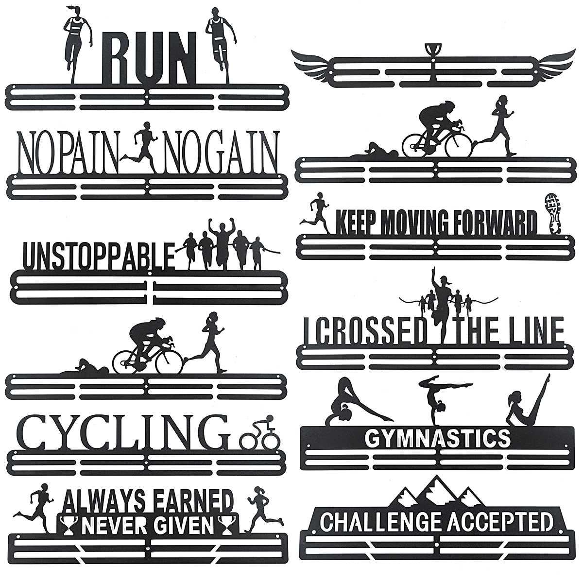 Подвесной Медальон 12 видов, Многофункциональная вешалка для медалей, кронштейн, настенные крючки, Железный Декор для триатлона, бега, спорт...