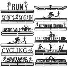12 tipo multi-estilo medalha pendurado titular rack cabide suporte ganchos de parede ferro triathlon correndo esporte desafio decoração do escritório em casa