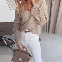 New Women Long Sleeve Lace Stitching Blouse Spring Autumn Elegant Ladies V-neck Casual Sexy Lace Patchwork Shirt Tops Blusas D30 sexy snake printed blouse shirt office lady puff sleeve casual shirts female elegant spring autumn blouse tops