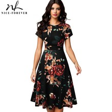 Nice forever Vintage Elegant Floral Print Pleated Round neck vestidos A Line Pinup Business Party Women Flare Swing Dress A102
