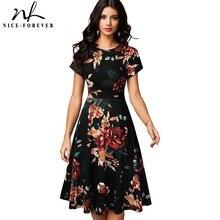 니스 영원히 빈티지 우아한 꽃 인쇄 Pleated 라운드 목 vestidos 라인 핀업 비즈니스 파티 여성 플레어 스윙 드레스 A102