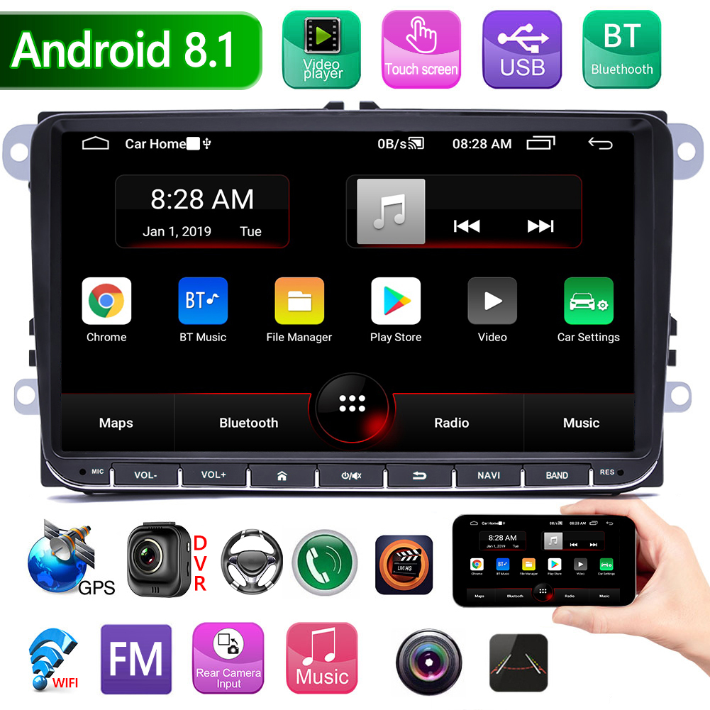 Bluetooth FM Radio GPS Head Unit Save Time And Energy For Convenience 9093 2 DIN 9 Inch Android 8.1 Car Stereo For VW