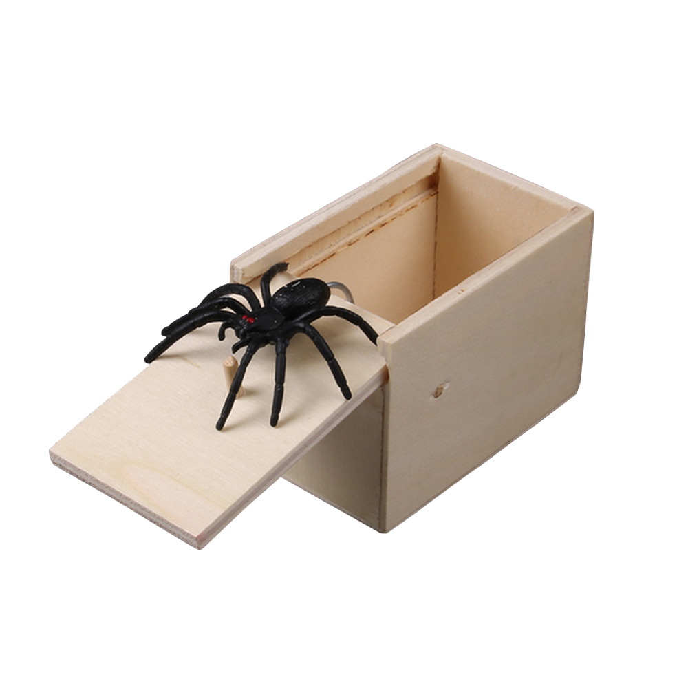 Mouse Spider Surprise Box Joke Fun Scare Prank Gag Gifts Kids Adult Toys Tricky Toy Scared Wooden Box Spoof Scary Little Bug