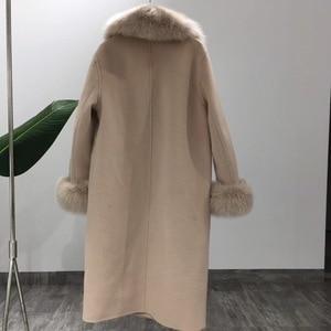 Image 5 - OFTBUY 2020 Real Fur Coat Winter Jacket Women Natural Fox Fur Collar Cashmere Wool Blends Long Outerwear Ladies Streetwear
