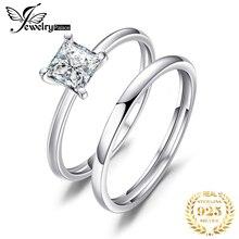 Принцесса 0.6 карат имитация бриллиантовое обручальное кольцо устанавливает Люкс свадебные браслет стерлингового серебра 925 для женщин