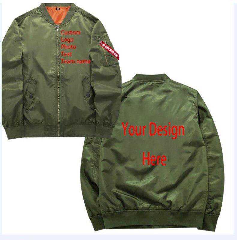 Custom Logo Photo Text Team Name Your Own Design Printed Customized Military Motorcycle Bomber Jacket Custom Pilot Jacket
