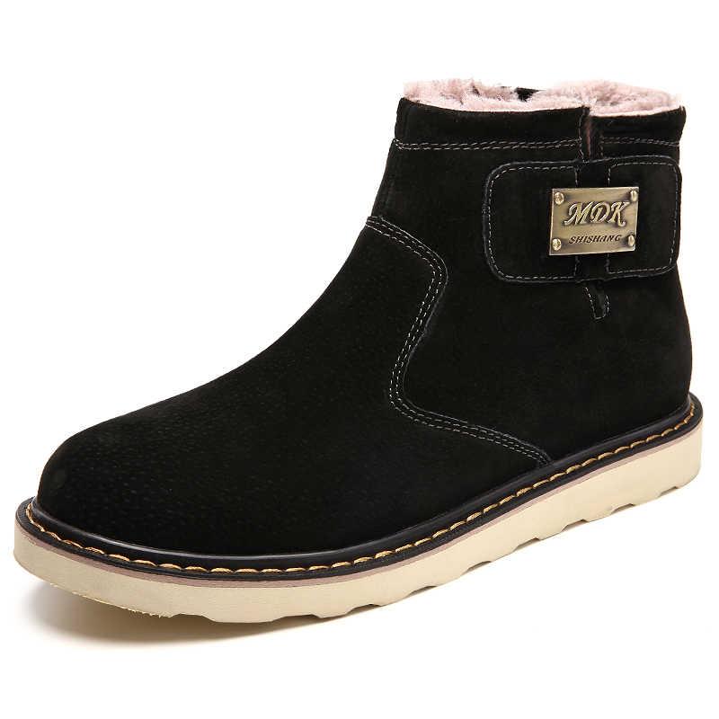 2019 Mens di Alta Qualità Scarpe casual Inverno Chelsea Caviglia Stivali Slip on scarpe da Uomo Più Il Formato Degli Uomini Scarpe In Pelle Traspirante Scarpe Da Neve stivali