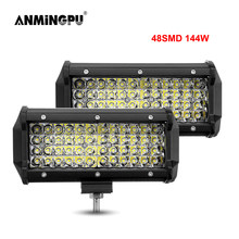 ANMINGPU 144W Spotlight LED Bar Off Road 12V 24V LED Light Bar/Work Light for Truck SUV 4WD 4x4 Boat ATV Car Barra LED Headlight